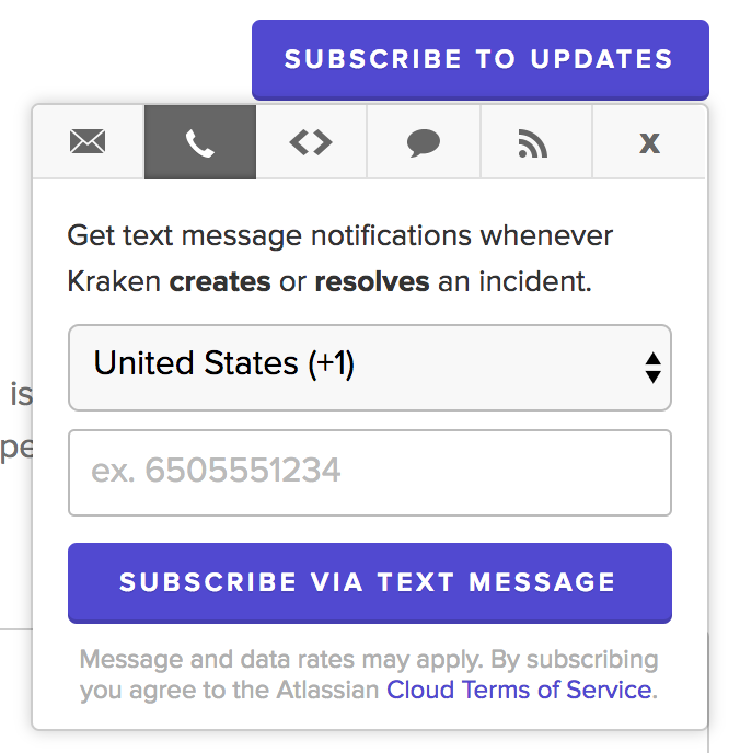 How to subscribe to (or unsubscribe from) Kraken Status SMS